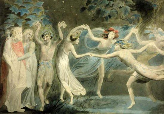 Oberon Titania and Puck with Fairies Dancing. William Blake. c.1786 1024x714