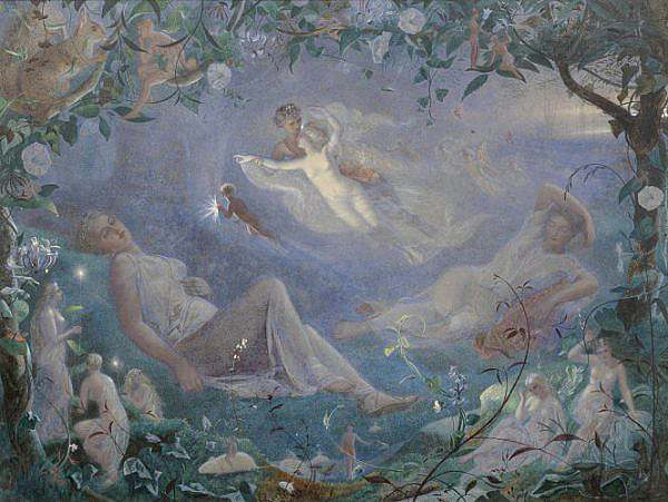 Scene from A Midsummer Nights Dream by John Simmons 1873 watercolor